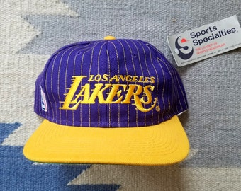 ccf001c125de9 Los Angeles Lakers Vintage Snapback Deadstock Rare Sports Specialties  Pinstripe Hat 90s NBA