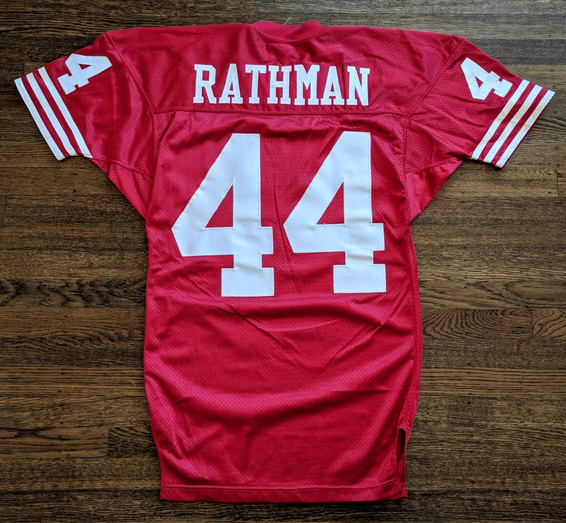 buy popular 79d6f 476ce Tom Rathman Authentic Jersey 42 San Francisco 49ers Niners Vintage Wilson  Rare 80s