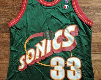 Hersey Hawkins Vintage Champion Jersey 40 Seattle Supersonics Rare NBA 90s Sonics
