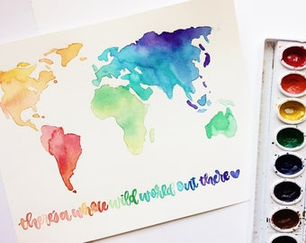Hand-Watercolored World Map with Custom Calligraphy Quote