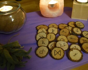 Celtic Runes Set of 24 wooden pieces Pyrography Celtic Wicca Magic Personalize order Spiritual Runes