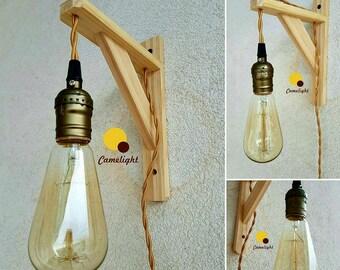 Lampada Vintage Da Parete : Lampadario in legno etsy