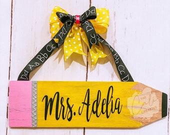 Teacher Appreciation wooden sign Wooden door hanger Back to School Monogrammed Teachers Pencil READY to SHIP Teacher name