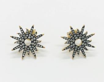 Sterling Silver Sunburst Earrings Gold/Black
