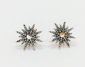 Sterling Silver Sunburst Earrings Rose Gold/Black
