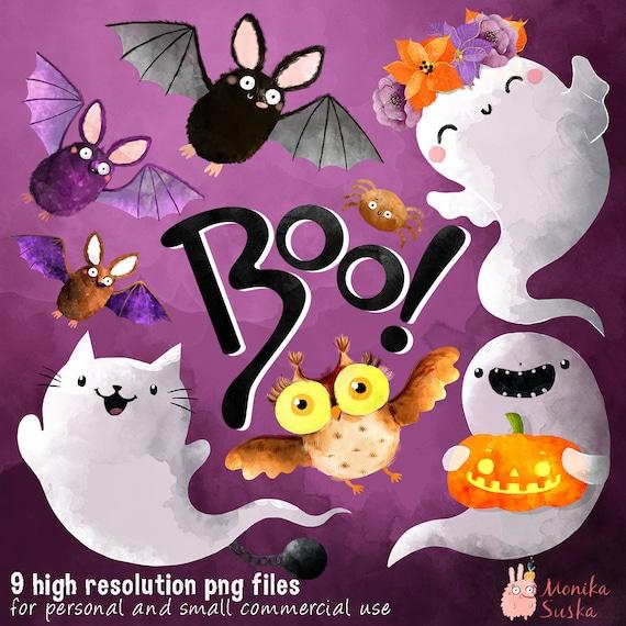 Halloween Clipart Fantômes Chauve Souris Hibou Citrouille Chat Imprimable Clipart Aquarelle Usage Commercial Clip Art