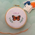 Pretty Butterfly cross stitch pattern, personalisable, instant PDF download, pattern only
