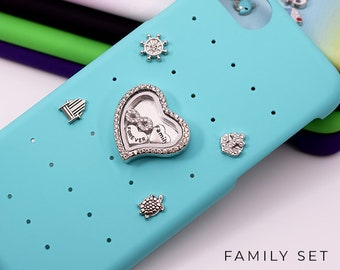 Family Charms iPhone Case Personalized Gift, Snap Charms for iPhone 7 Case, Family iPhone 8 Case, Personalized iPhone 7 Plus Case Charms