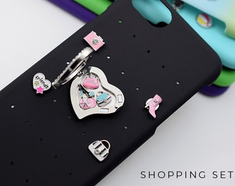 iPhone 7 Case Bling Best Friend Gift, Shopping Charms iPhone 8 Case, Bling iPhone 6s Case Gift for Best Friend, Shopping iPhone Case Charms