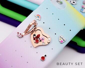 Beauty iPhone 7 Case Girlfriend Gift, Beauty Charms for iPhone 8 Case, Rainbow iPhone Case Gift for Girlfriend, Beauty Floating Charms Gift