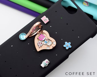 Coffee iPhone 8 Case Personalized Gift, Snap Charms Locket for iPhone 7 Case, Coffee Charms for Locket, Personalized iPhone 6 Case Coffee