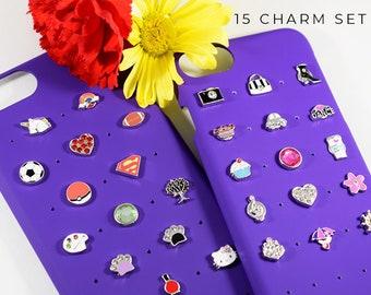 Cute iPhone 7 Case Charms, Purple iPhone Case Birthday Gift, iPhone 8 Case with Charms, Cute iPhone Charms Gift for Birthday, iPhone 6s Case