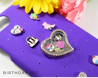 iPhone Case Jewelry Best Friend Gift, Purple iPhone 7 Case for Best Friend, Charm Jewelry for iPhone 8 Case, iPhone 6 Case Birthday Charms