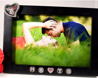 Personalized Picture Frame Engagement Gift, Picture Frame Valentines Gift, Personalized Charm Gift for Engagement, Charms for Picture Frame