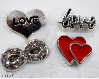 Love Charms Anniversary Gift, Silver Floating Charms, Anniversary Gift for Girlfriend, Locket Gift for Anniversary, Love Charms for Locket