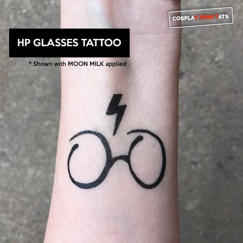 dc47a4d8da123 Harry Potter Glasses Lighting Bolt Temporary Tattoo Temp Tat   Etsy