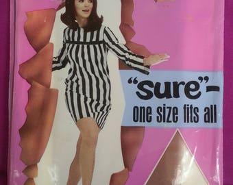 "Vintage 1960s ""SURE"" One Size Fits All Ladies Panty Hose New in Package"