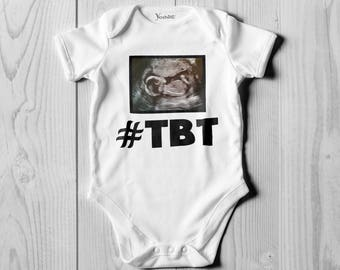 TBT onesie Made with Your baby's own Scan photo! Personalised Bodysuit Onesie