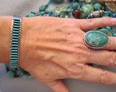 Gorgeous Old ZUNI Handcrafted Sterling and Genuine Sleeping Beauty TURQUOISE Petit Pointe Cuff Nice Stamp work Unisex -JNB019