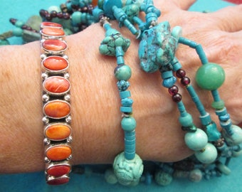 Gorgeous Southwestern Sterling Silver and Genuine Orange Spiny Oyster Cuff Bracelet>Deep Rich Orange Color>Dan Dodson signed  -JNB023