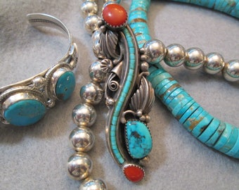 One of a kind> Navajo handcrafted Genuine Turquoise & Mediterranean Red Coral Ring> Sterling Silver> Long and Ornate> old pawn