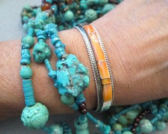 Navajo Handcrafted Sterling & Genuine Orange Spiny Oyster Cuff Bracelet>Smart Sleek Design with Vibrant Orange Color that POPS -JNB009