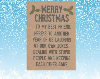 Bff christmas card etsy merry christmas best friend funny christmas card for friend best friend card christmas card for best friend bff card m4hsunfo