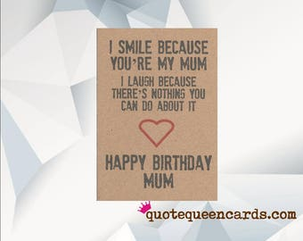 FUNNY BIRTHDAY Card For MUM Funny Birthday Mum Handmade