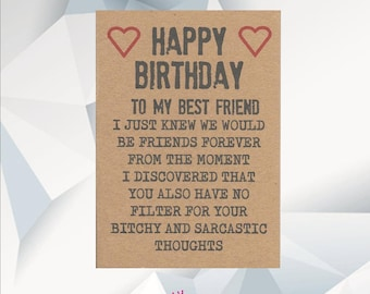 Happy Birthday BEST FRIEND Funny Card For Friend Best BFF