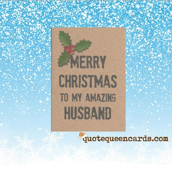 Husband Christmas Cards Uk.Christmas Card For Husband Merry Christmas To My Amazing Husband Handmade Uk Seller