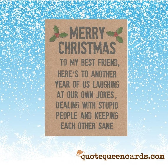 Merry christmas best friend funny christmas card for friend etsy - Weihnachtskarte freundin ...