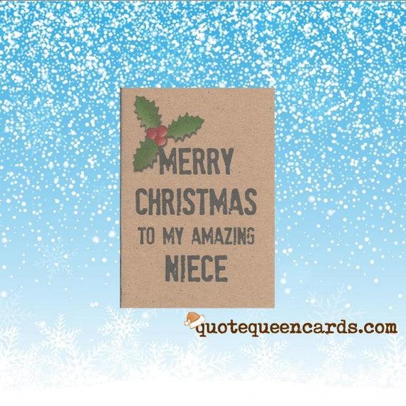 Merry Christmas Niece.Christmas Card For Niece Merry Christmas To My Amazing Niece Handmade Uk Seller