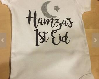 """Personalized """"First Eid"""" Baby Onesie Eid Mubarak, Eid Gift, Islamic Gift, Muslim, My first eid, Ramadan"""