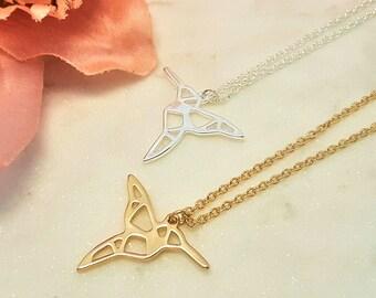 humming bird, bird necklace, Hummingbird necklace,hummingbird, Origami hummingbird, origami necklace, minimalist necklace, bird jewellwery