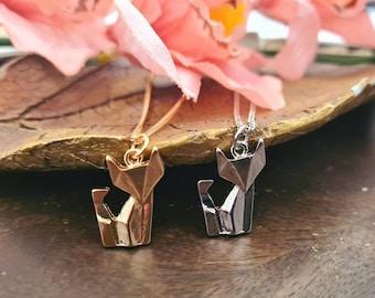 Origami fox, origami necklace, geometric necklace, origami animal, minimalist necklace, fox pendant, silver fox necklace