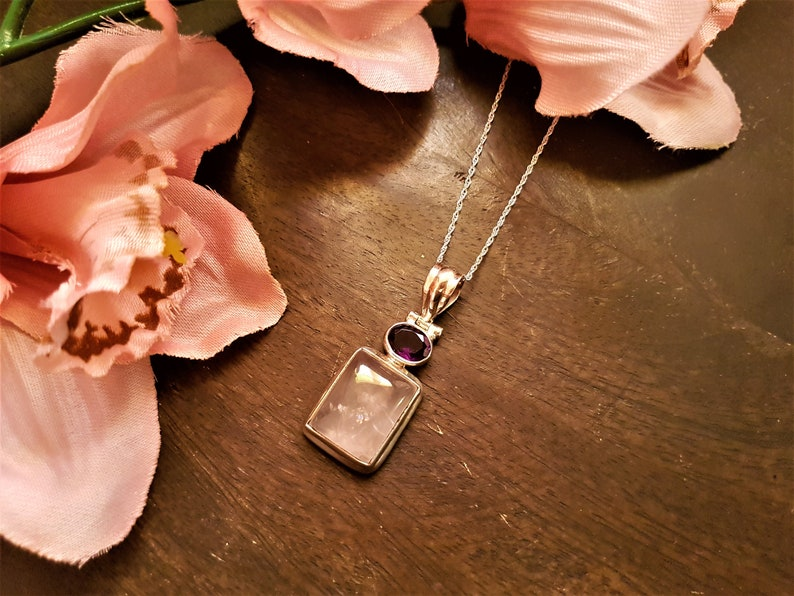 February birthstone Amethyst silver necklace jewelry crystal necklace Amethyst necklace Rose quartz necklaces for women 925 silver