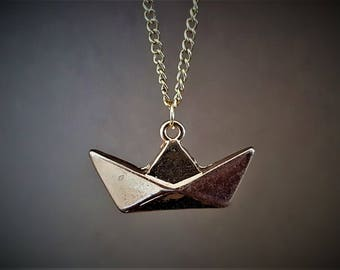 paper boat, Boat necklace, origami boat, nautical necklace, paper boat necklace, origami boat necklace, necklace boat