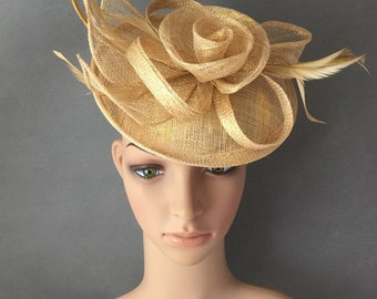 fcbb0ad7aa737 Gold Fascinator Sinamay Hat Fascinator with Mesh Ribbons and Gold Feathers  Derby Fascinator hat