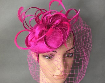 Fuchsia Hot Pink Fascinator Hat Fascinator with Veiling and Feathers Derby Fascinator Wedding