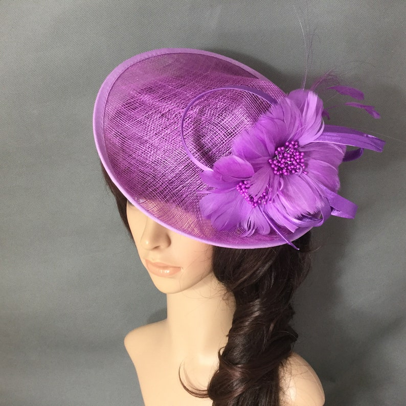 521afffa24047 Purple Fascinator Sinamay Hat Fascinator with Feather Flowers