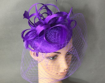 Purple Fascinator Hat Fascinator with Veiling and Feathers Derby Fascinator Wedding