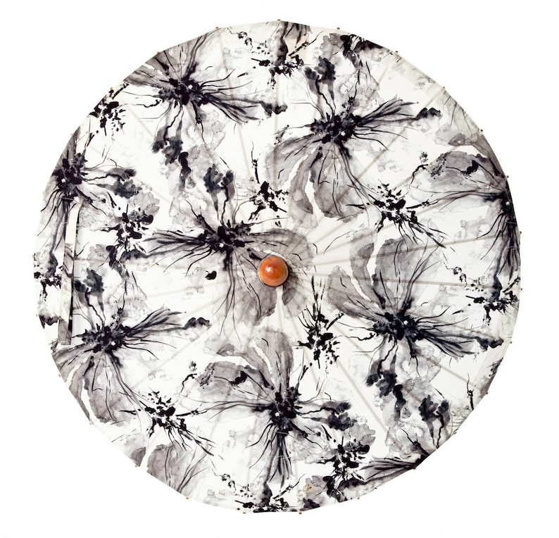 INK WASH FLOWERS uv-protective sun parasol