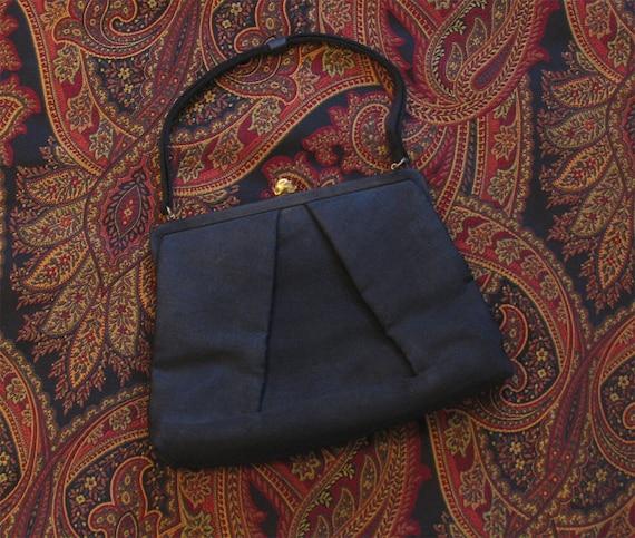 1940s Vintage Black Evening Bag, Black Fabric 40s