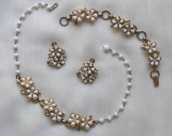 1950s Vintage Costume Jewelry Set, Coro Parure, 3 Piece Costume Jewelry, Vintage Necklace, Vintage Bracelet, Vintage Earrings