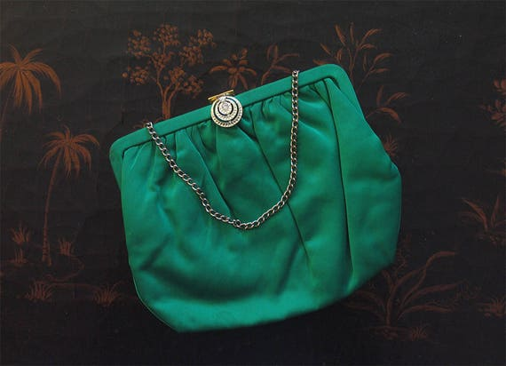 1950s Vintage Emerald Green Satin Evening Purse, 5