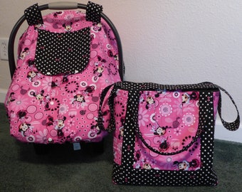 MINNIE MOUSE Fitted W Peekaboo Front Baby Car Seat Canopy Diaper Tote Bag And Or Blanket Also In Nightmare Before Christmas Elephant