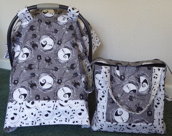 cdd5a9765538 NIGHTMARE BEFORE CHRISTMAS w Jack Baby Car Seat Canopy   or Diaper tote Bag  or blanket