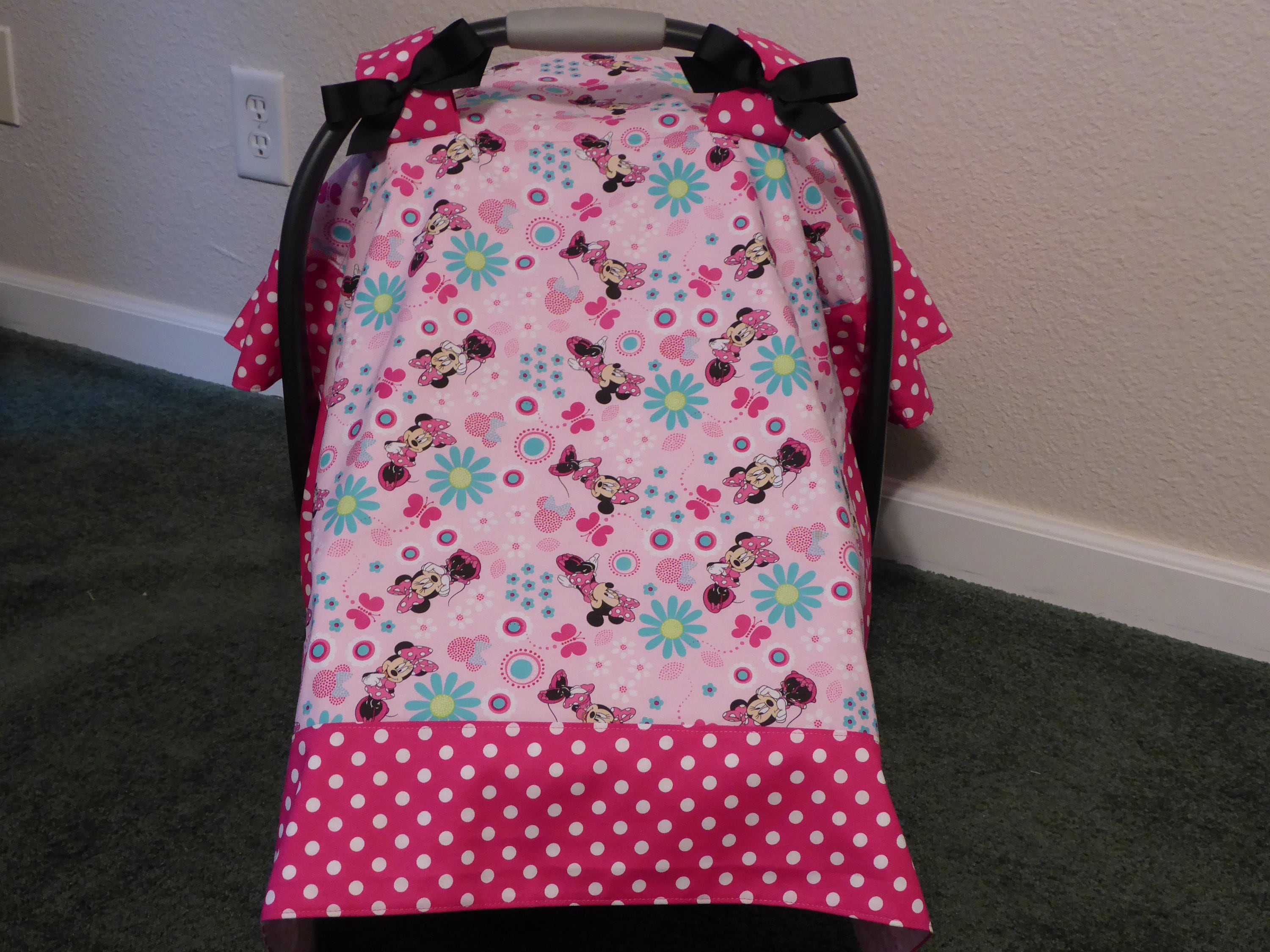 Minnie Mouse Wbows Baby Car Seat Canopy Cover And Or Blanket Etsy