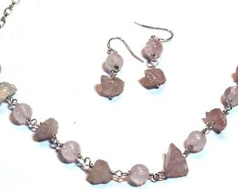 Rose Quartz  Jewelry Necklace and Earrings, Rose Quartz Gemstone Nugget Jewelry