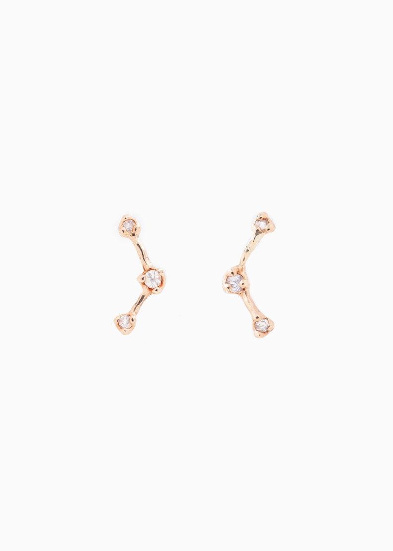 Raw Sapphire Ear Crawler Diamond Solid 14k Earrings Constellation Ear Climbers Constellation Earrings